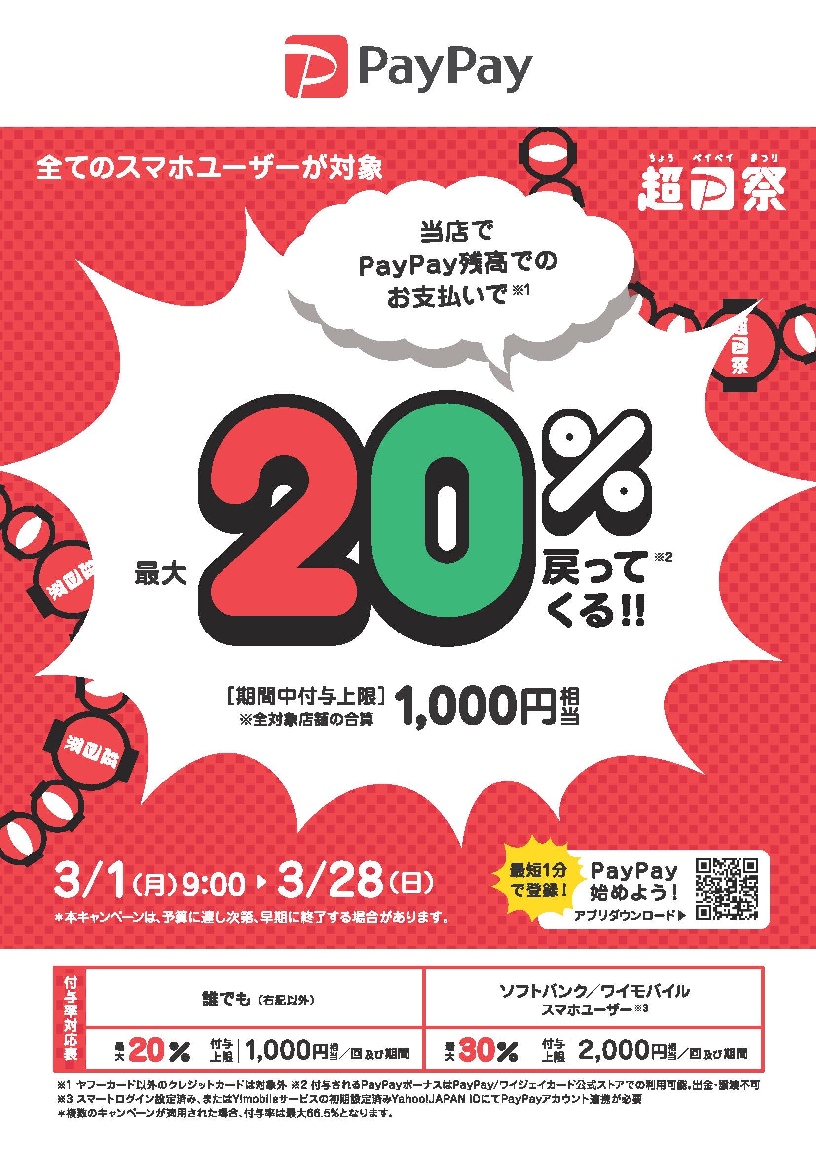 最大1,000円相当 20%戻ってくるキャンペーン
